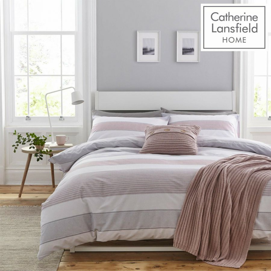 Catherine Lansfield Newquay Stripe Duvet Cover Set Blush