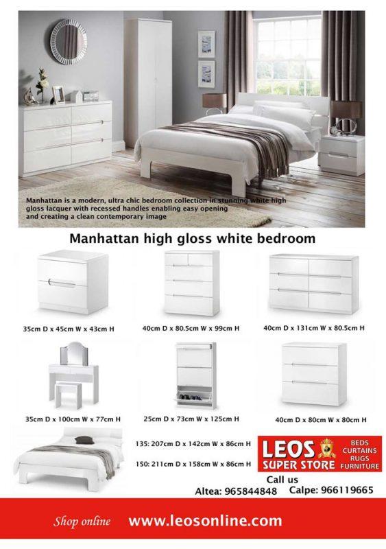 Manhattan White High Gloss Bedroom Furniture Leaflet - Leo\'s ...